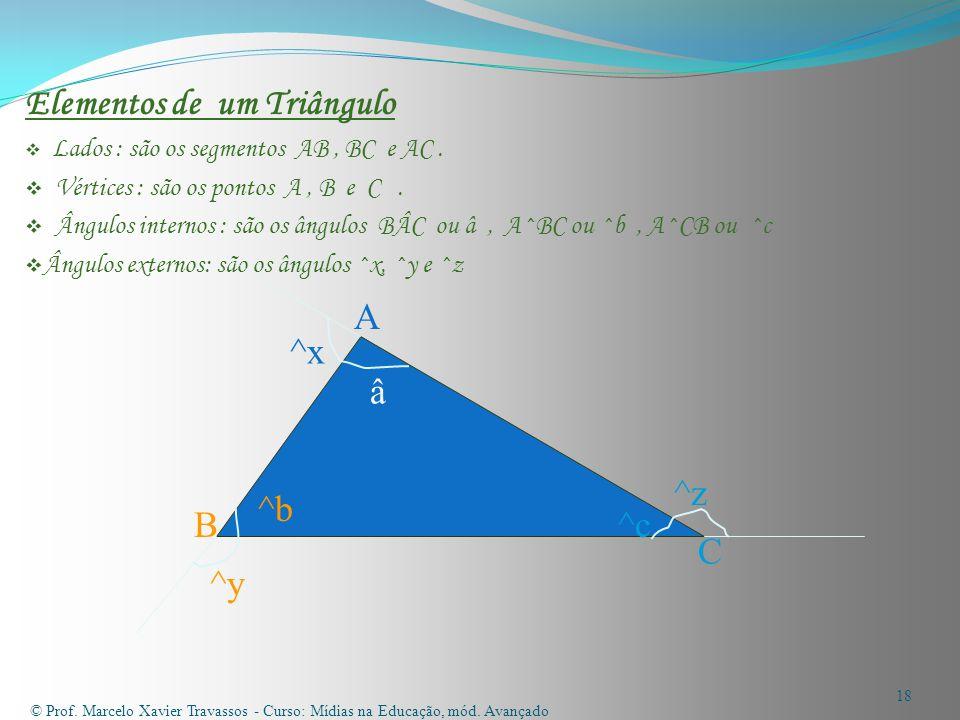 Elementos de um Triângulo  Lados : são os segmentos AB, BC e AC.