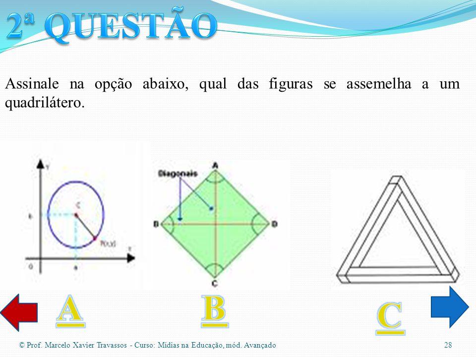 © Prof. Marcelo Xavier Travassos - Curso: Mídias na Educação, mód. Avançado 27 Assinale na opção abaixo, qual das figuras se assemelha a um triângulo