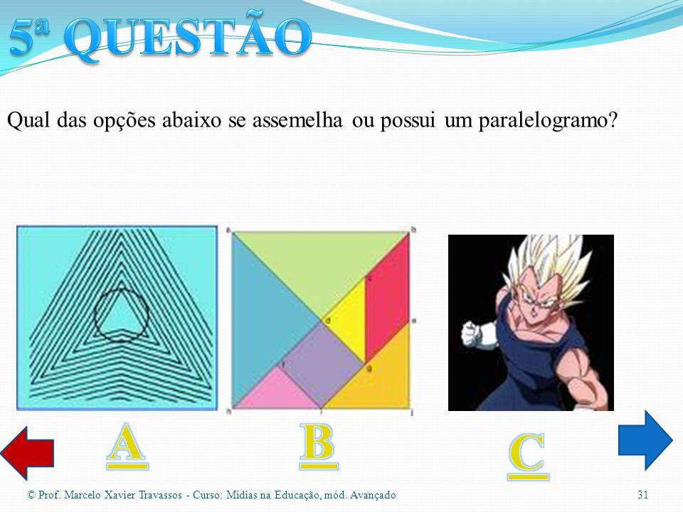 © Prof. Marcelo Xavier Travassos - Curso: Mídias na Educação, mód. Avançado 30 Qual das opções abaixo se assemelha losango?