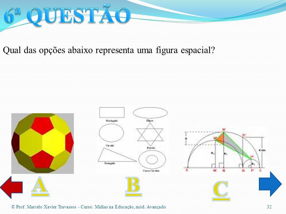 © Prof. Marcelo Xavier Travassos - Curso: Mídias na Educação, mód. Avançado 31 Qual das opções abaixo se assemelha ou possui um paralelogramo?