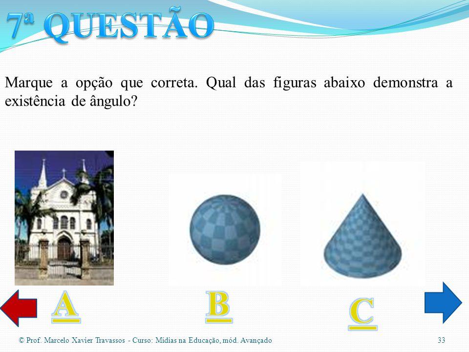 © Prof. Marcelo Xavier Travassos - Curso: Mídias na Educação, mód. Avançado 32 Qual das opções abaixo representa uma figura espacial?