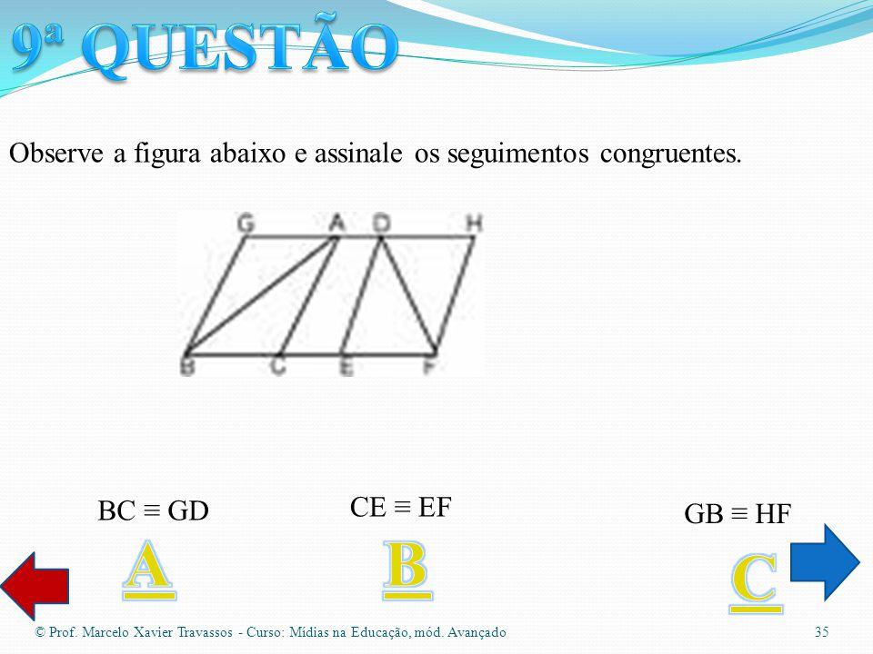 Objetos usados em geometria espacial © Prof. Marcelo Xavier Travassos - Curso: Mídias na Educação, mód. Avançado 34 Duas das opções abaixo estão corre