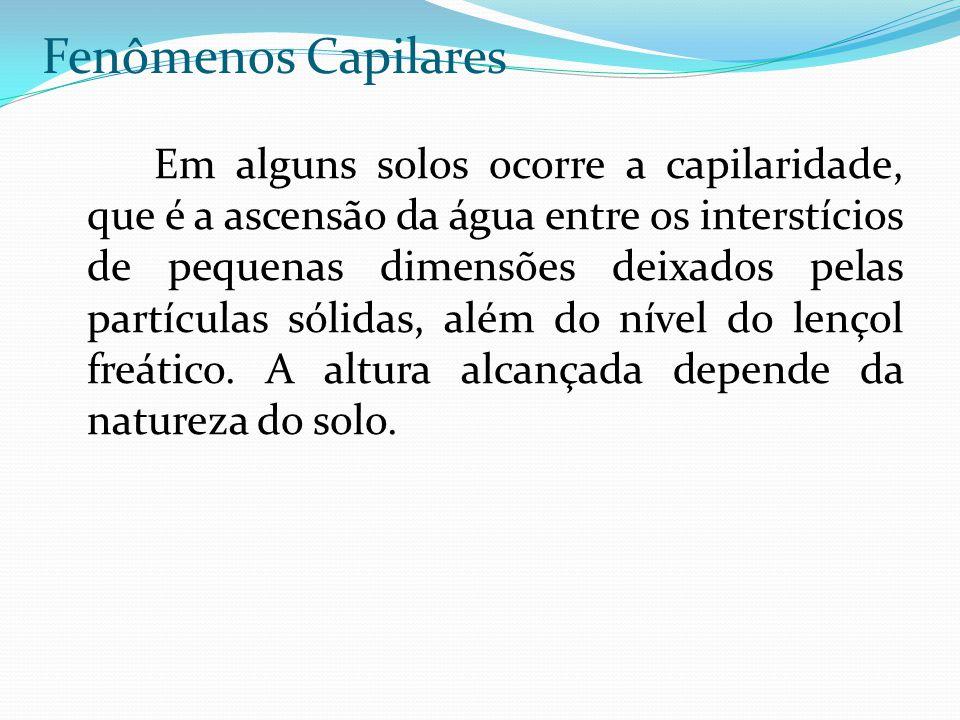 Fenômenos Capilares Em alguns solos ocorre a capilaridade, que é a ascensão da água entre os interstícios de pequenas dimensões deixados pelas partícu