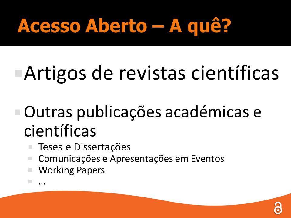  Artigos de revistas científicas  Outras publicações académicas e científicas  Teses e Dissertações  Comunicações e Apresentações em Eventos  Working Papers  …
