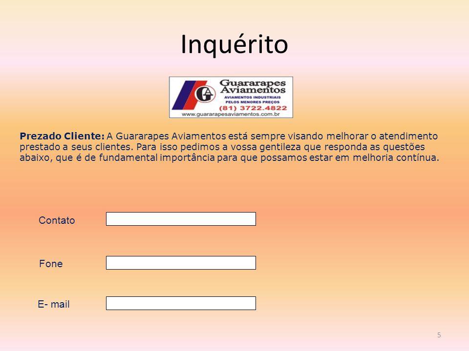 Inquérito 5 Prezado Cliente: A Guararapes Aviamentos está sempre visando melhorar o atendimento prestado a seus clientes.