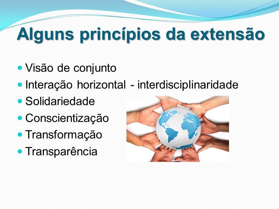 Alguns princípios da extensão Visão de conjunto Interação horizontal - interdisciplinaridade Solidariedade Conscientização Transformação Transparência