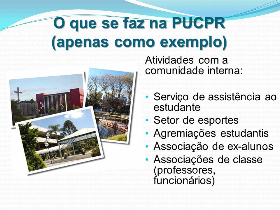 O que se faz na PUCPR (apenas como exemplo) Atividades com a comunidade interna: Serviço de assistência ao estudante Setor de esportes Agremiações estudantis Associação de ex-alunos Associações de classe (professores, funcionários)