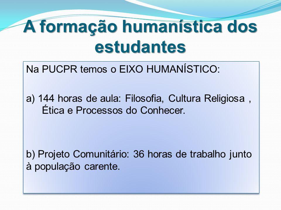 A formação humanística dos estudantes Na PUCPR temos o EIXO HUMANÍSTICO: a) 144 horas de aula: Filosofia, Cultura Religiosa, Ética e Processos do Conhecer.