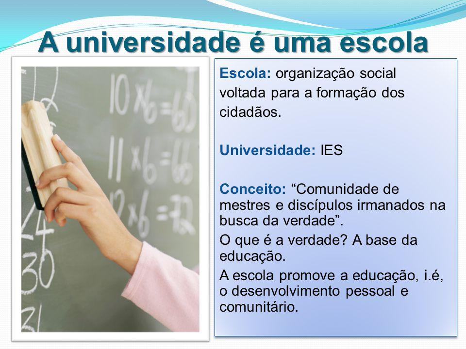 A universidade é uma escola Escola: organização social voltada para a formação dos cidadãos.