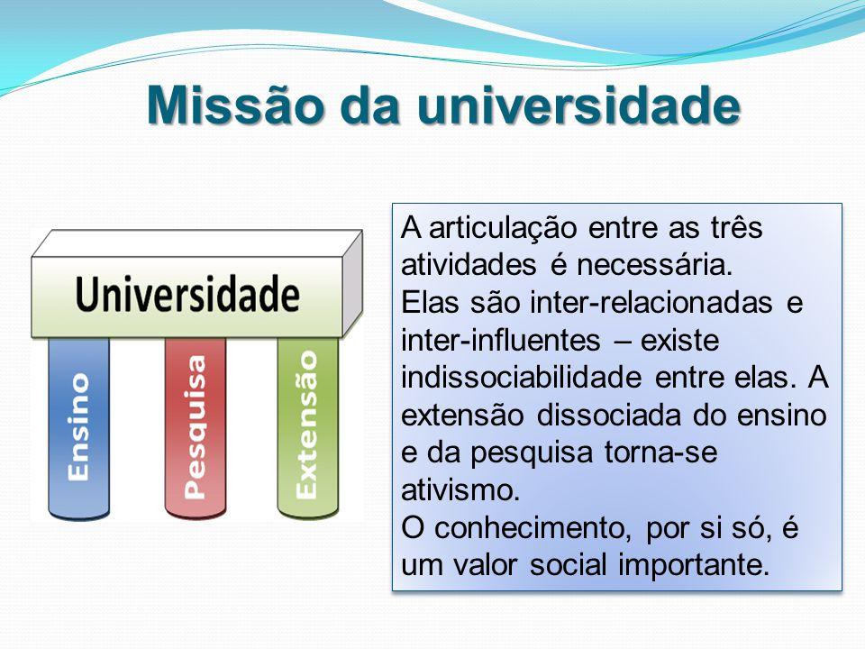 Missão da universidade A articulação entre as três atividades é necessária.