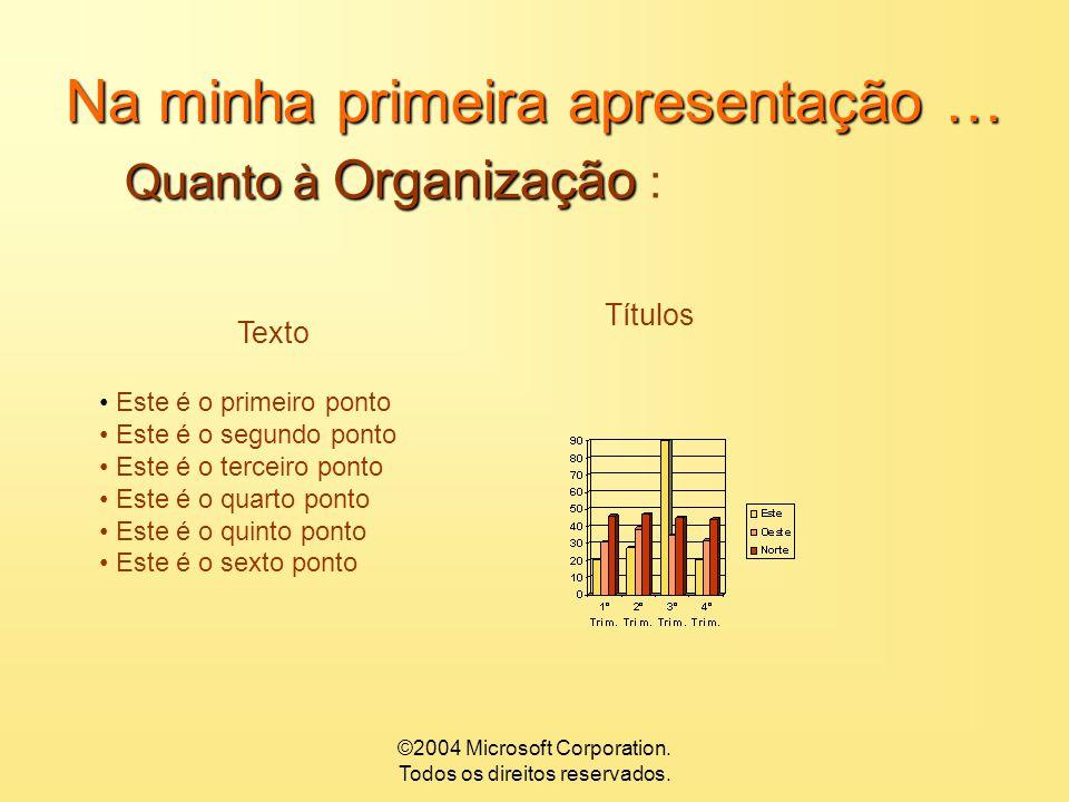 ©2004 Microsoft Corporation. Todos os direitos reservados. Na minha primeira apresentação … Quanto à Visibilidade Quanto à Visibilidade : 1___________