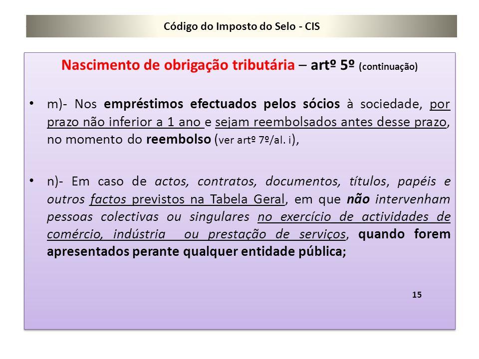 Código do Imposto do Selo - CIS Nascimento de obrigação tributária – artº 5º (continuação) m)- Nos empréstimos efectuados pelos sócios à sociedade, po