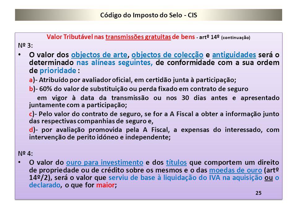 Código do Imposto do Selo - CIS Valor Tributável nas transmissões gratuitas de bens - artº 14º (continuação) Nº 3: O valor dos objectos de arte, objec