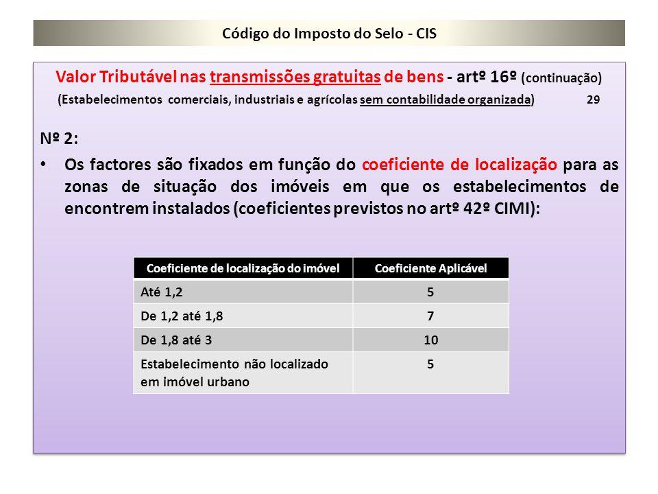 Código do Imposto do Selo - CIS Valor Tributável nas transmissões gratuitas de bens - artº 16º (continuação) (Estabelecimentos comerciais, industriais