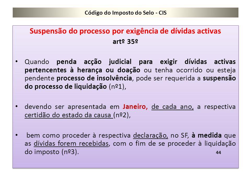Código do Imposto do Selo - CIS Suspensão do processo por exigência de dívidas activas artº 35º Quando penda acção judicial para exigir dívidas activa