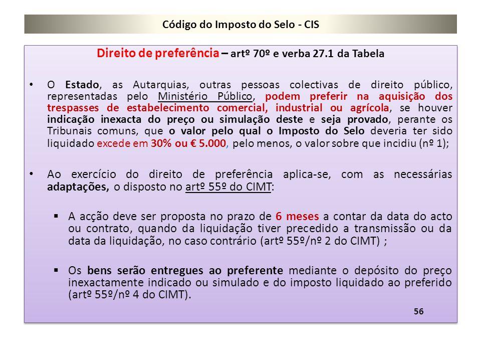 Código do Imposto do Selo - CIS Direito de preferência – artº 70º e verba 27.1 da Tabela O Estado, as Autarquias, outras pessoas colectivas de direito