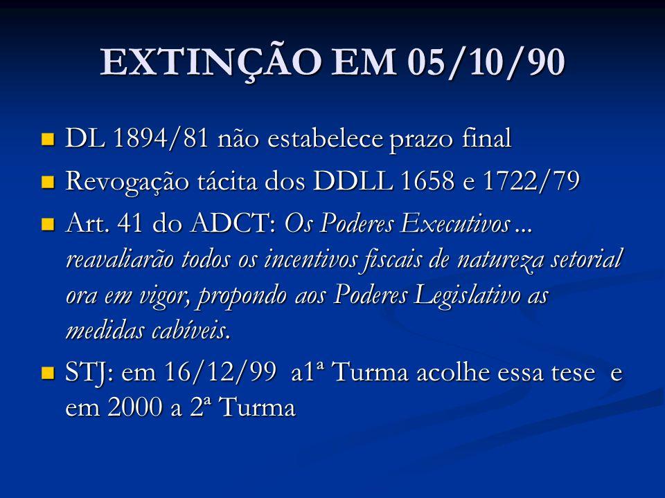 EXTINÇÃO EM 05/10/90 DL 1894/81 não estabelece prazo final DL 1894/81 não estabelece prazo final Revogação tácita dos DDLL 1658 e 1722/79 Revogação tácita dos DDLL 1658 e 1722/79 Art.