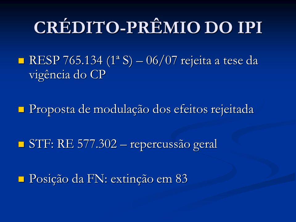 CRÉDITO-PRÊMIO DO IPI RESP 765.134 (1ª S) – 06/07 rejeita a tese da vigência do CP RESP 765.134 (1ª S) – 06/07 rejeita a tese da vigência do CP Proposta de modulação dos efeitos rejeitada Proposta de modulação dos efeitos rejeitada STF: RE 577.302 – repercussão geral STF: RE 577.302 – repercussão geral Posição da FN: extinção em 83 Posição da FN: extinção em 83