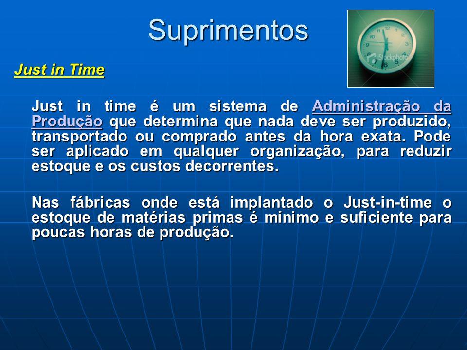 Suprimentos Just in Time Just in time é um sistema de Administração da Produção que determina que nada deve ser produzido, transportado ou comprado an