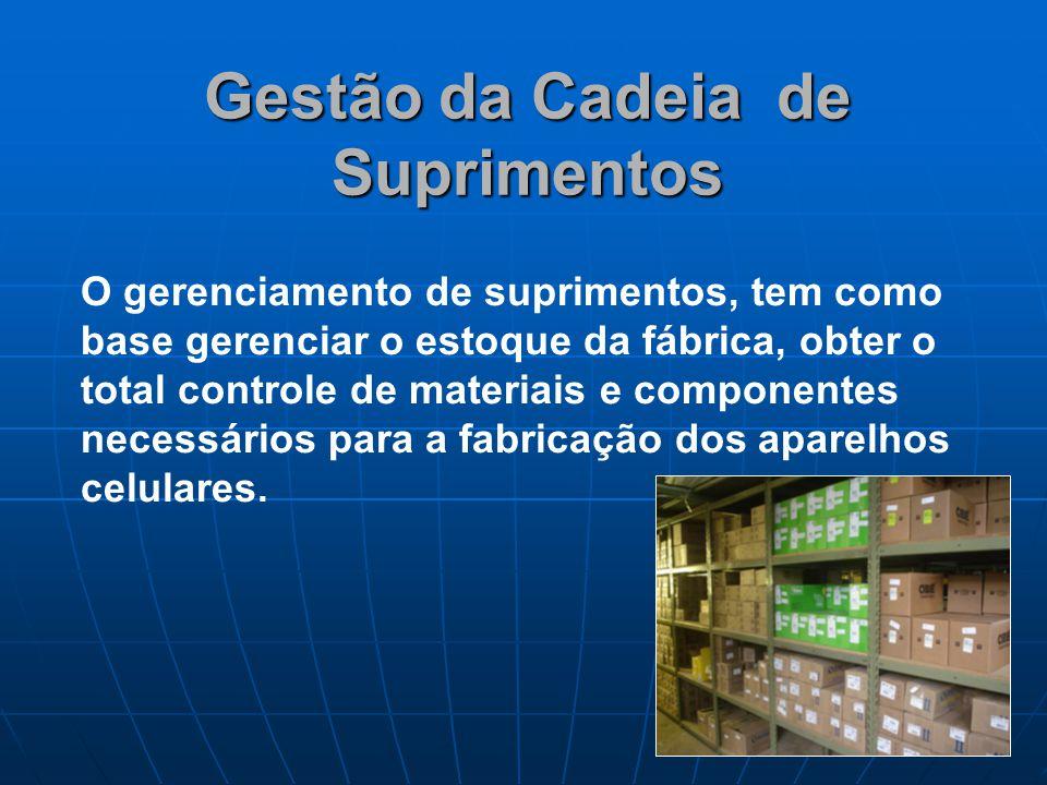 SuprimentosFornecedores É de suma importância, definir e otimizar a rede estratégica de fornecedores para cada componente eletrônico das etapas de fabricação dos aparelhos.
