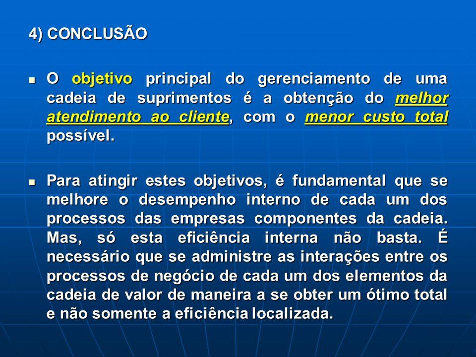 4) CONCLUSÃO O objetivo principal do gerenciamento de uma cadeia de suprimentos é a obtenção do melhor atendimento ao cliente, com o menor custo total