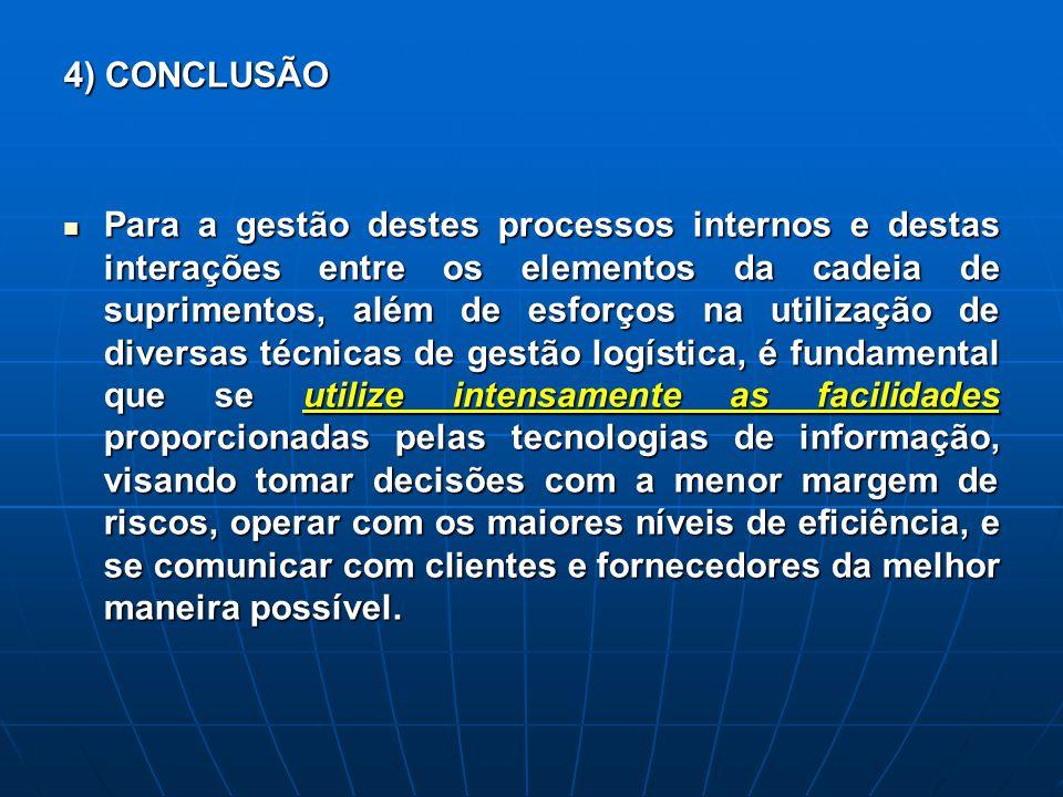 4) CONCLUSÃO Para a gestão destes processos internos e destas interações entre os elementos da cadeia de suprimentos, além de esforços na utilização d
