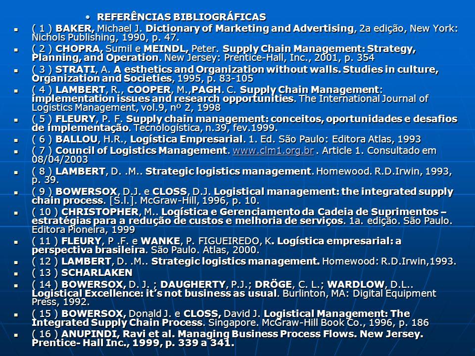 REFERÊNCIAS BIBLIOGRÁFICASREFERÊNCIAS BIBLIOGRÁFICAS ( 1 ) BAKER, Michael J. Dictionary of Marketing and Advertising, 2a edição, New York: Nichols Pub