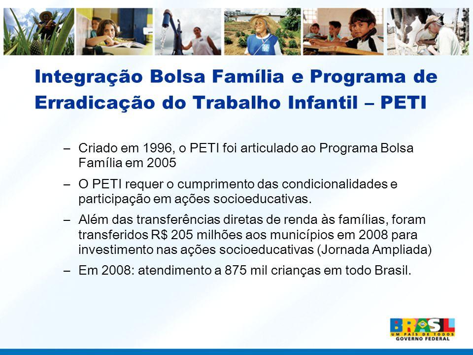 Integração Bolsa Família e Programa de Erradicação do Trabalho Infantil – PETI –Criado em 1996, o PETI foi articulado ao Programa Bolsa Família em 200