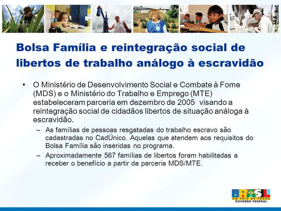Bolsa Família e reintegração social de libertos de trabalho análogo à escravidão O Ministério de Desenvolvimento Social e Combate à Fome (MDS) e o Min