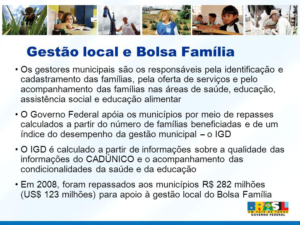 Gestão local e Bolsa Família Os gestores municipais são os responsáveis pela identificação e cadastramento das famílias, pela oferta de serviços e pel