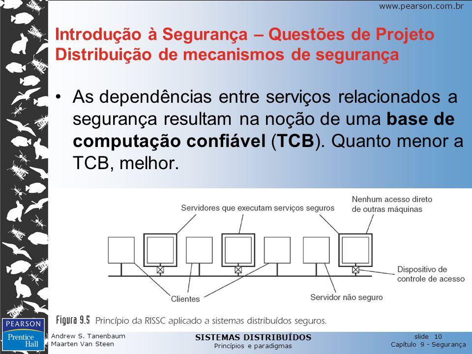 SISTEMAS DISTRIBUÍDOS Princípios e paradigmas slide 10 Capítulo 9 - Segurança www.pearson.com.br Andrew S. Tanenbaum Maarten Van Steen Introdução à Se