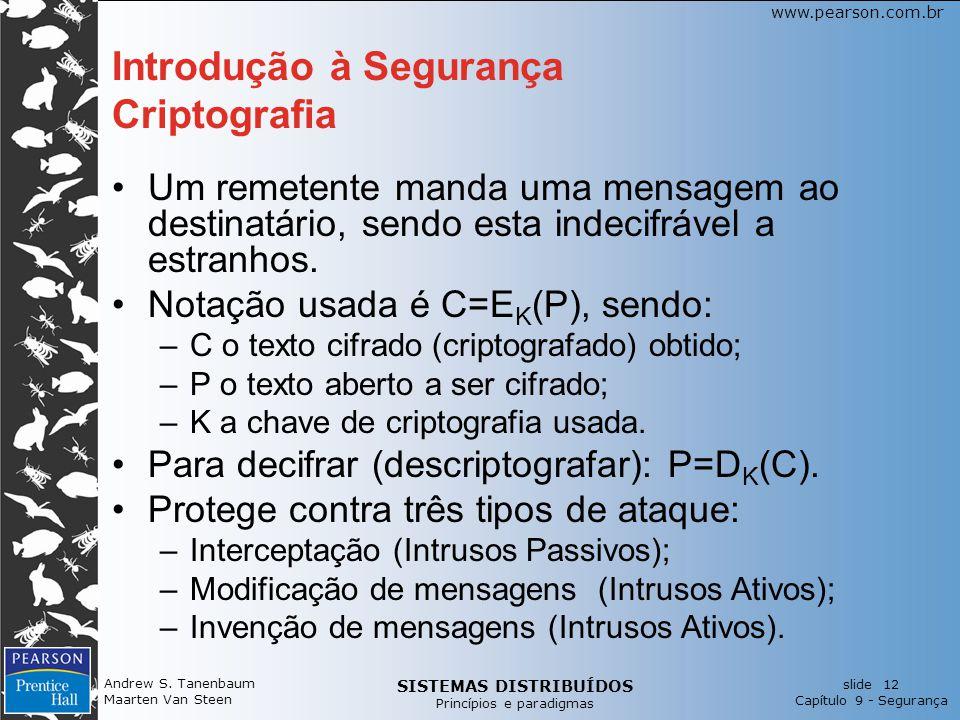 SISTEMAS DISTRIBUÍDOS Princípios e paradigmas slide 12 Capítulo 9 - Segurança www.pearson.com.br Andrew S. Tanenbaum Maarten Van Steen Introdução à Se