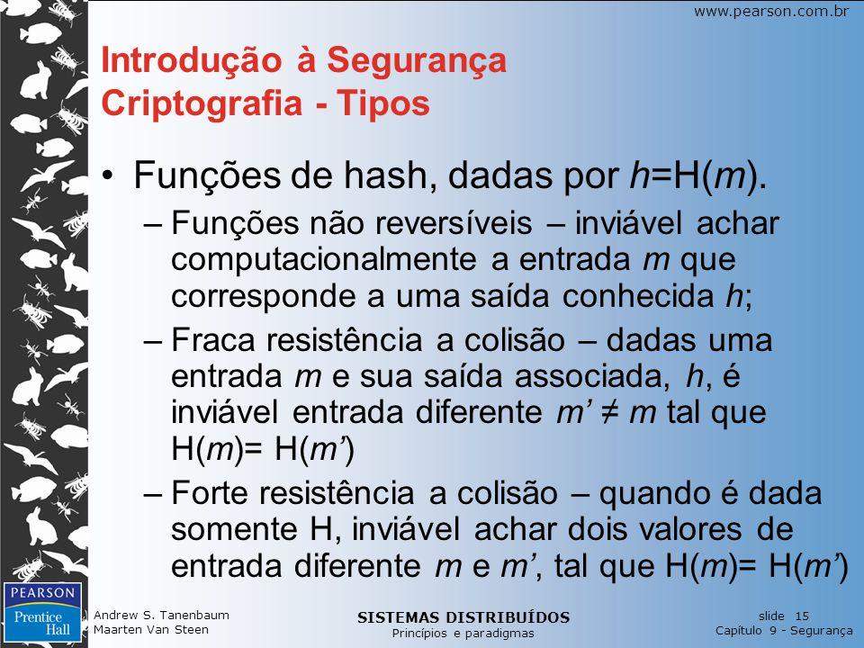 SISTEMAS DISTRIBUÍDOS Princípios e paradigmas slide 15 Capítulo 9 - Segurança www.pearson.com.br Andrew S. Tanenbaum Maarten Van Steen Introdução à Se