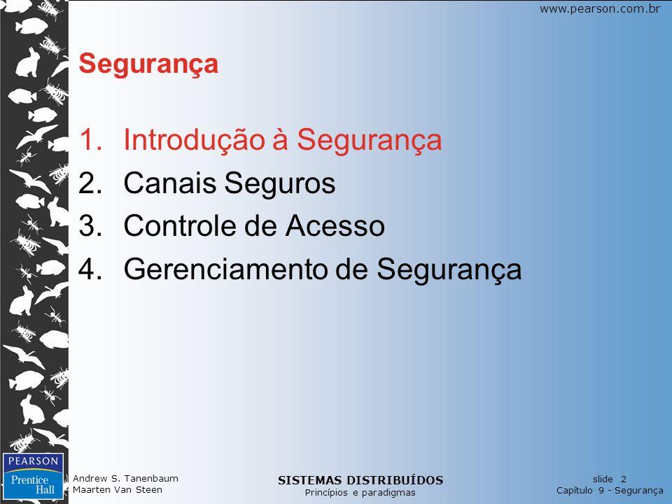 SISTEMAS DISTRIBUÍDOS Princípios e paradigmas slide 2 Capítulo 9 - Segurança www.pearson.com.br Andrew S. Tanenbaum Maarten Van Steen Segurança 1.Intr