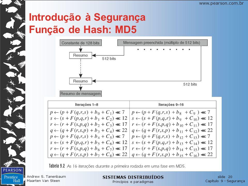 SISTEMAS DISTRIBUÍDOS Princípios e paradigmas slide 20 Capítulo 9 - Segurança www.pearson.com.br Andrew S.