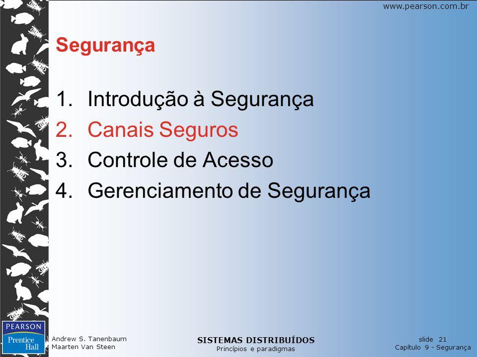 SISTEMAS DISTRIBUÍDOS Princípios e paradigmas slide 21 Capítulo 9 - Segurança www.pearson.com.br Andrew S.