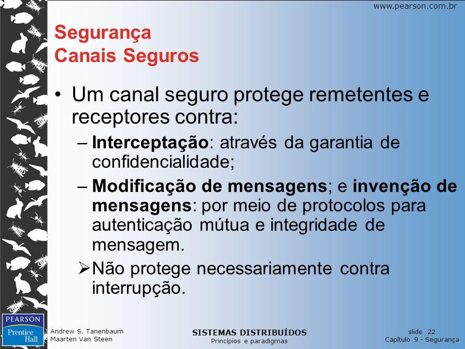SISTEMAS DISTRIBUÍDOS Princípios e paradigmas slide 22 Capítulo 9 - Segurança www.pearson.com.br Andrew S. Tanenbaum Maarten Van Steen Segurança Canai