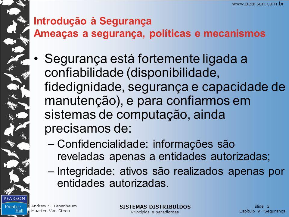 SISTEMAS DISTRIBUÍDOS Princípios e paradigmas slide 3 Capítulo 9 - Segurança www.pearson.com.br Andrew S. Tanenbaum Maarten Van Steen Introdução à Seg