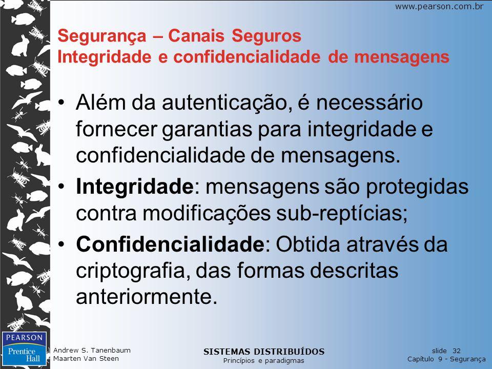 SISTEMAS DISTRIBUÍDOS Princípios e paradigmas slide 32 Capítulo 9 - Segurança www.pearson.com.br Andrew S.