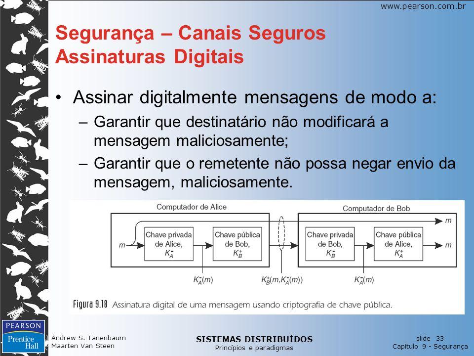 SISTEMAS DISTRIBUÍDOS Princípios e paradigmas slide 33 Capítulo 9 - Segurança www.pearson.com.br Andrew S.