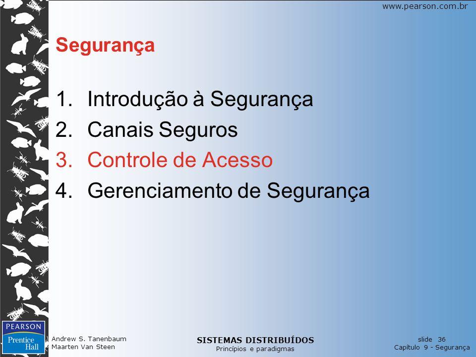SISTEMAS DISTRIBUÍDOS Princípios e paradigmas slide 36 Capítulo 9 - Segurança www.pearson.com.br Andrew S. Tanenbaum Maarten Van Steen Segurança 1.Int