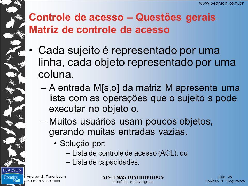 SISTEMAS DISTRIBUÍDOS Princípios e paradigmas slide 39 Capítulo 9 - Segurança www.pearson.com.br Andrew S. Tanenbaum Maarten Van Steen Controle de ace