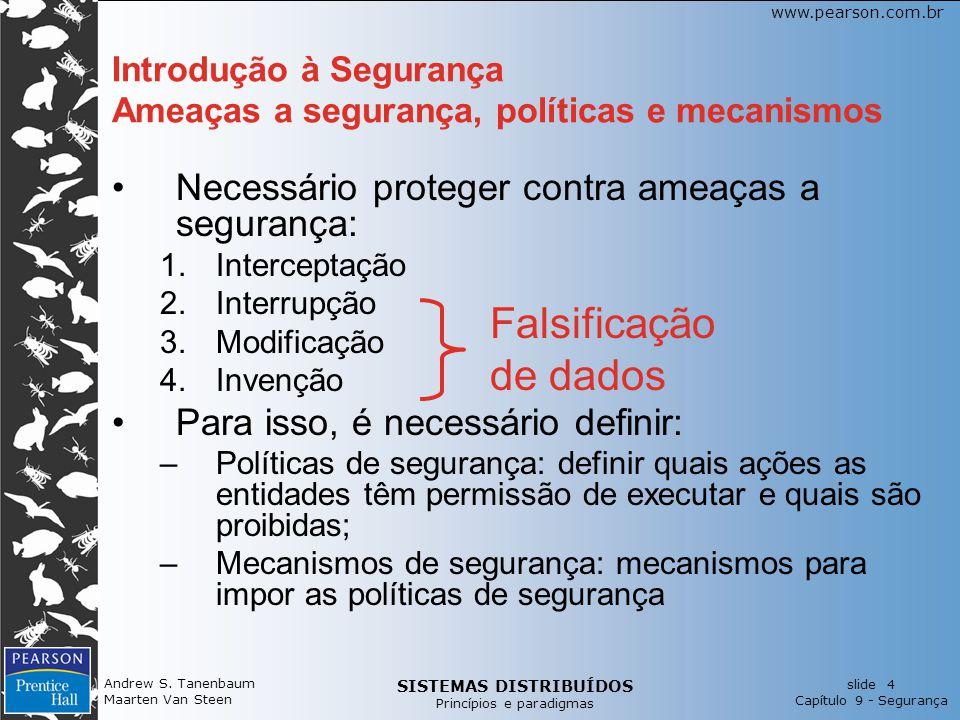 SISTEMAS DISTRIBUÍDOS Princípios e paradigmas slide 4 Capítulo 9 - Segurança www.pearson.com.br Andrew S. Tanenbaum Maarten Van Steen Introdução à Seg