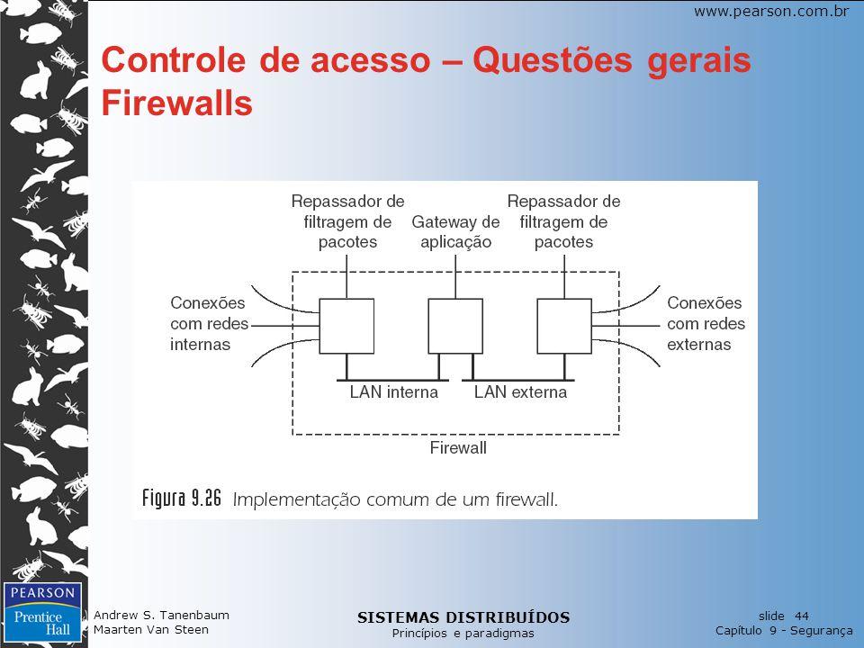 SISTEMAS DISTRIBUÍDOS Princípios e paradigmas slide 44 Capítulo 9 - Segurança www.pearson.com.br Andrew S. Tanenbaum Maarten Van Steen Controle de ace