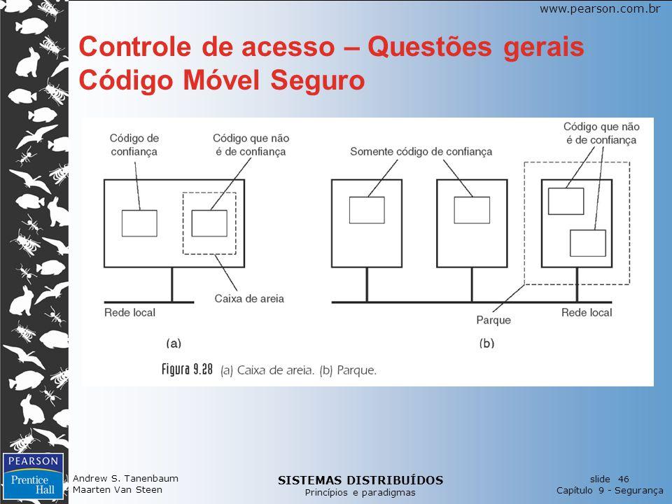 SISTEMAS DISTRIBUÍDOS Princípios e paradigmas slide 46 Capítulo 9 - Segurança www.pearson.com.br Controle de acesso – Questões gerais Código Móvel Seguro Andrew S.