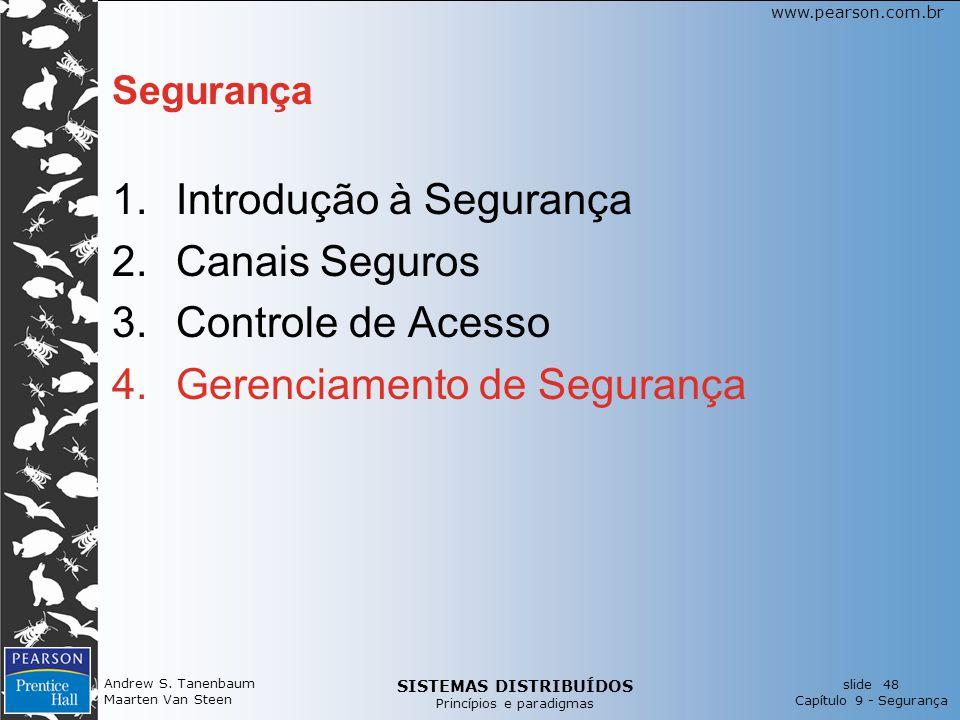 SISTEMAS DISTRIBUÍDOS Princípios e paradigmas slide 48 Capítulo 9 - Segurança www.pearson.com.br Andrew S. Tanenbaum Maarten Van Steen Segurança 1.Int