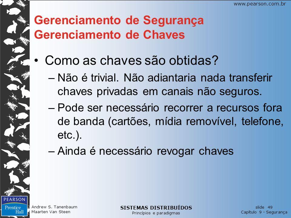 SISTEMAS DISTRIBUÍDOS Princípios e paradigmas slide 49 Capítulo 9 - Segurança www.pearson.com.br Gerenciamento de Segurança Gerenciamento de Chaves Como as chaves são obtidas.