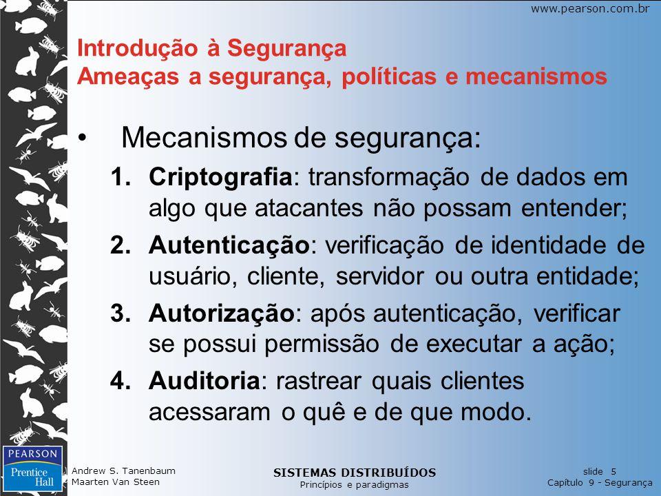 SISTEMAS DISTRIBUÍDOS Princípios e paradigmas slide 5 Capítulo 9 - Segurança www.pearson.com.br Andrew S. Tanenbaum Maarten Van Steen Introdução à Seg