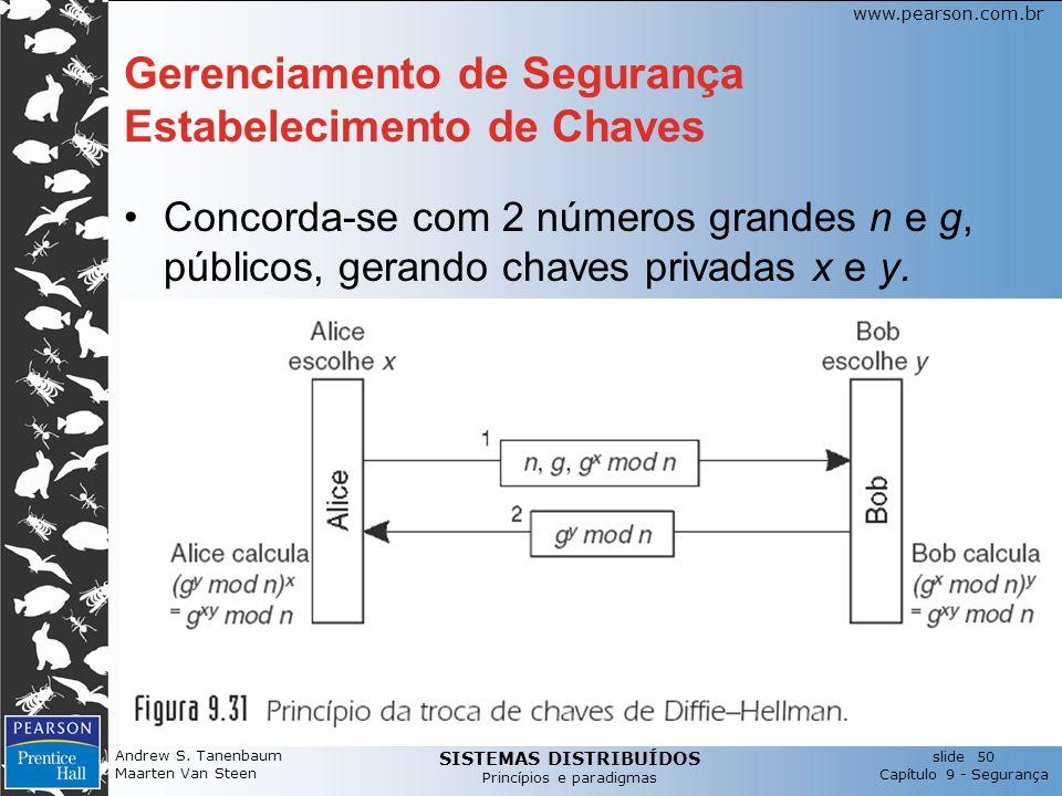 SISTEMAS DISTRIBUÍDOS Princípios e paradigmas slide 50 Capítulo 9 - Segurança www.pearson.com.br Gerenciamento de Segurança Estabelecimento de Chaves