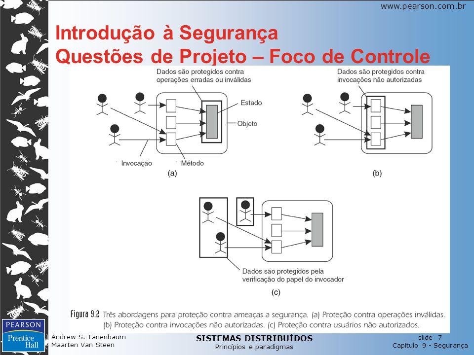 SISTEMAS DISTRIBUÍDOS Princípios e paradigmas slide 7 Capítulo 9 - Segurança www.pearson.com.br Andrew S. Tanenbaum Maarten Van Steen Introdução à Seg
